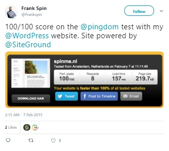 100 Perfect Score On SiteGround