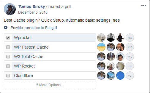 WP Rocket FaceBook Poll01