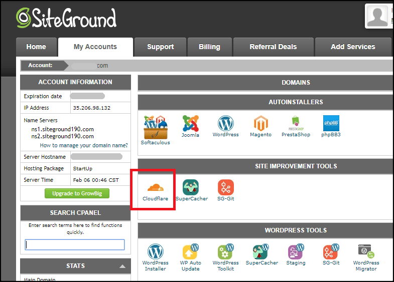 Opcja Siteground cPanel Cloudflare