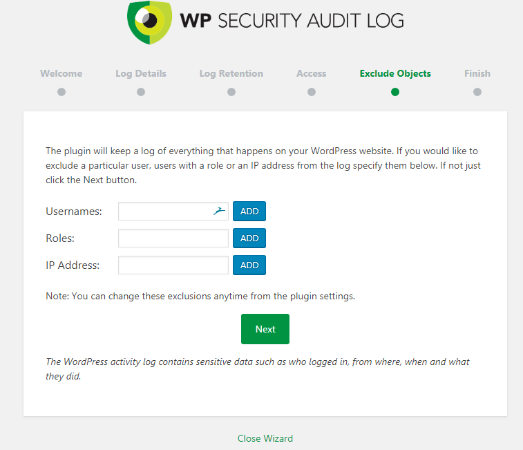 Escludi registro controllo sicurezza WP