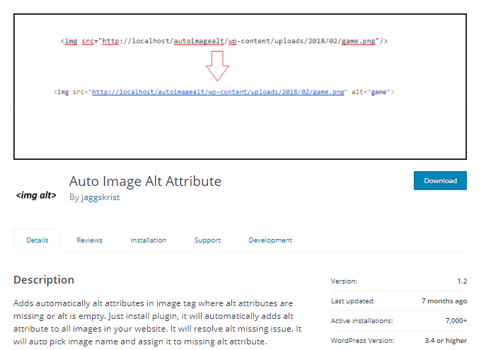 Auto Image Alt Attribut Plugin
