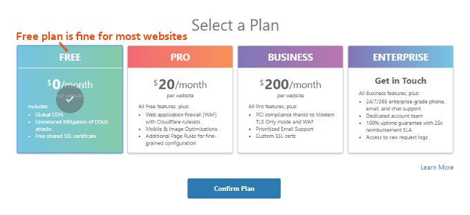 CloudFlare-CDN-Plans