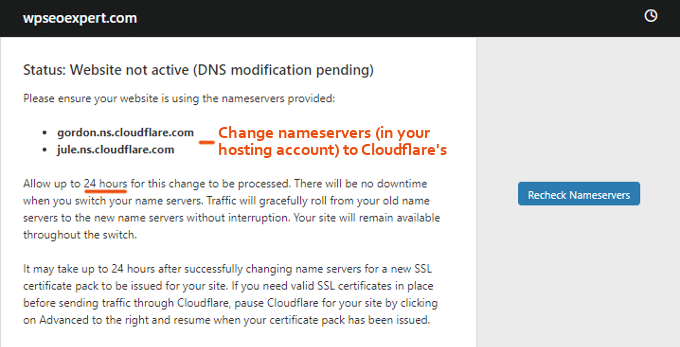 Painel Cloudflare Name Servers