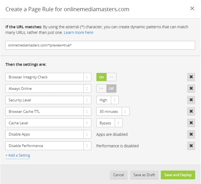 CloudFlare-Page-Rregulla-WP-Preview