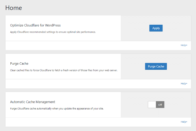 Cloudflare WordPress Plugin Home Settings