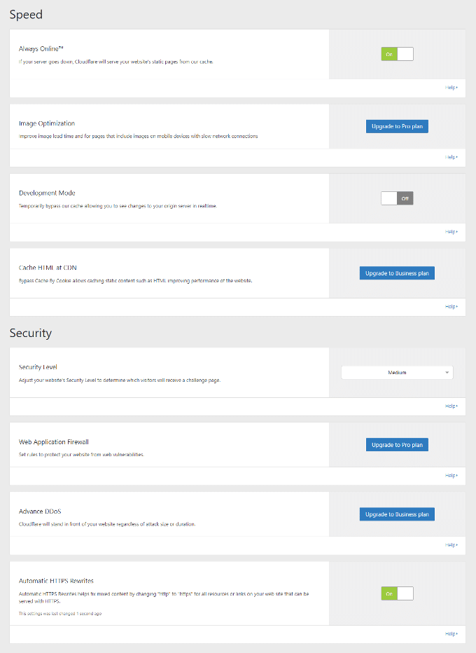 Cloudflare WordPress Plugin Speed ​​Settings