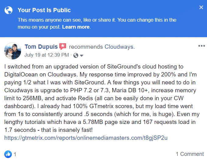Cloudways-Facebook-Bewertung