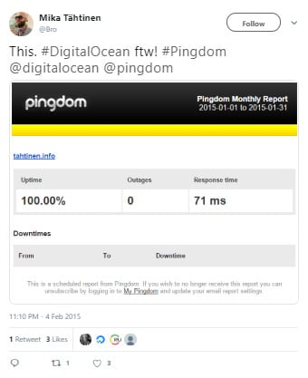Raport Pingdom DigitalOcean