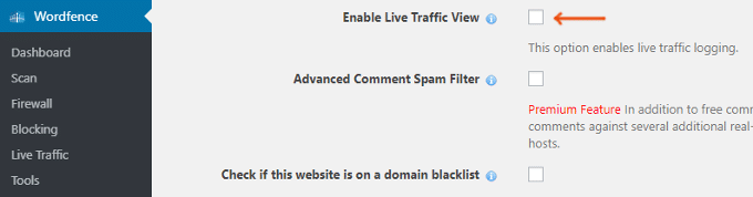 Disable-Wordfence-Live-Traffic-View