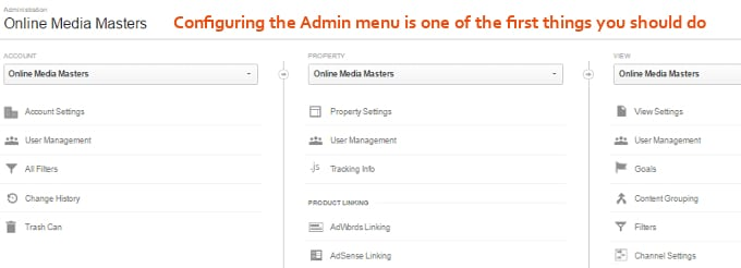 Google-Analytics-Admin-Menu