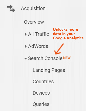 Google Analytics Search Console集成