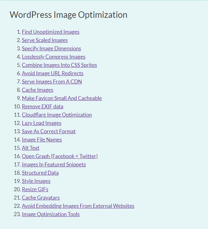 Image Optimization TOC