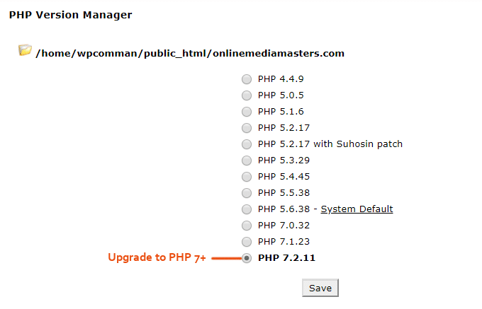 Upgrade PHP