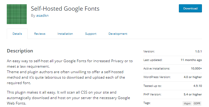 Self-Hosted-Google-Fonts-Plugin