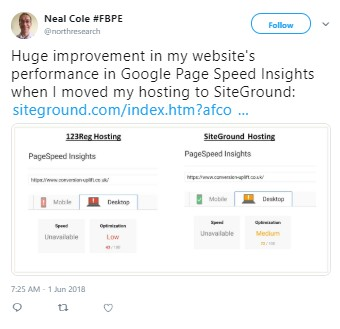 SiteGround PageSpeed ​​통계