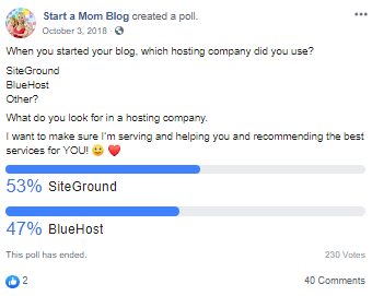 Anketa SiteGround vs Bluehost na Facebooku