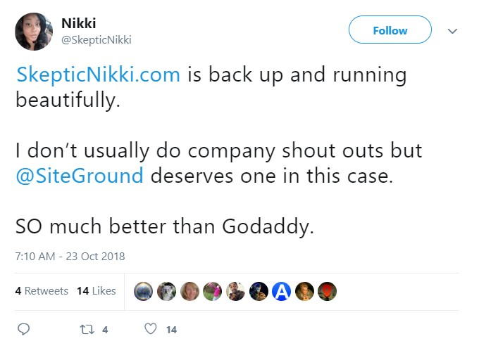 SiteGround vs Godaddy Twitter