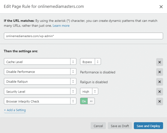 WP Admin Page Rule