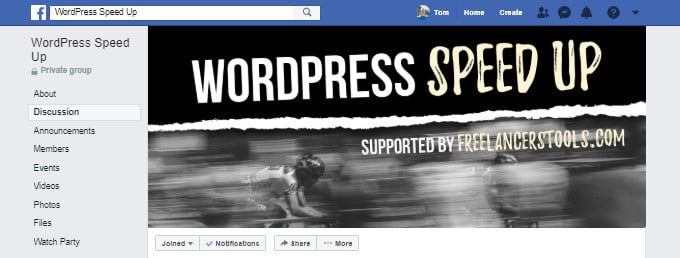 WordPress Speed ​​Up Facebook Group
