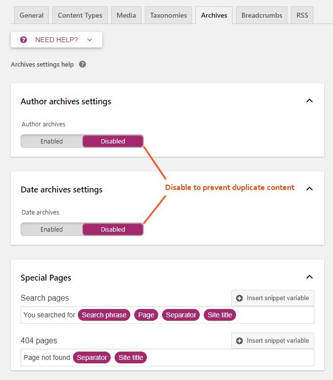 Yoast-Archives-Settings