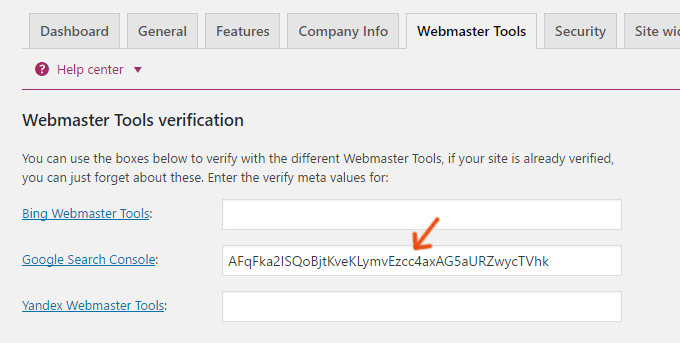 Yoast Google Search Console Verification