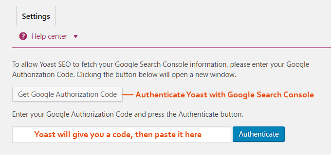 Yoast-search-console-autentisering