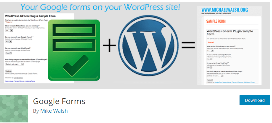 Google Form WordPress dodatak