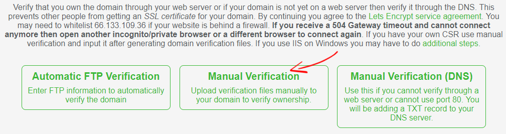 SSL para verificación manual gratuita