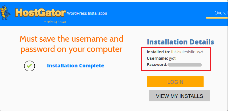 Установка HostGator WordPress завершена