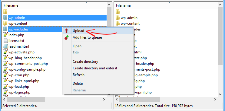 Caricamento FTP di file core di WordPress