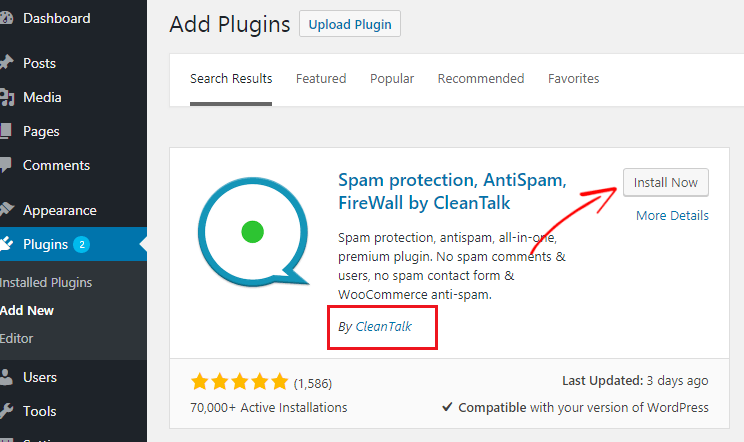 Cleantalk WordPress-plugin-installation