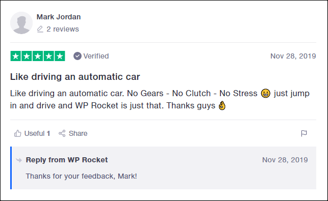 WP Rocket Trustpilot Review 6