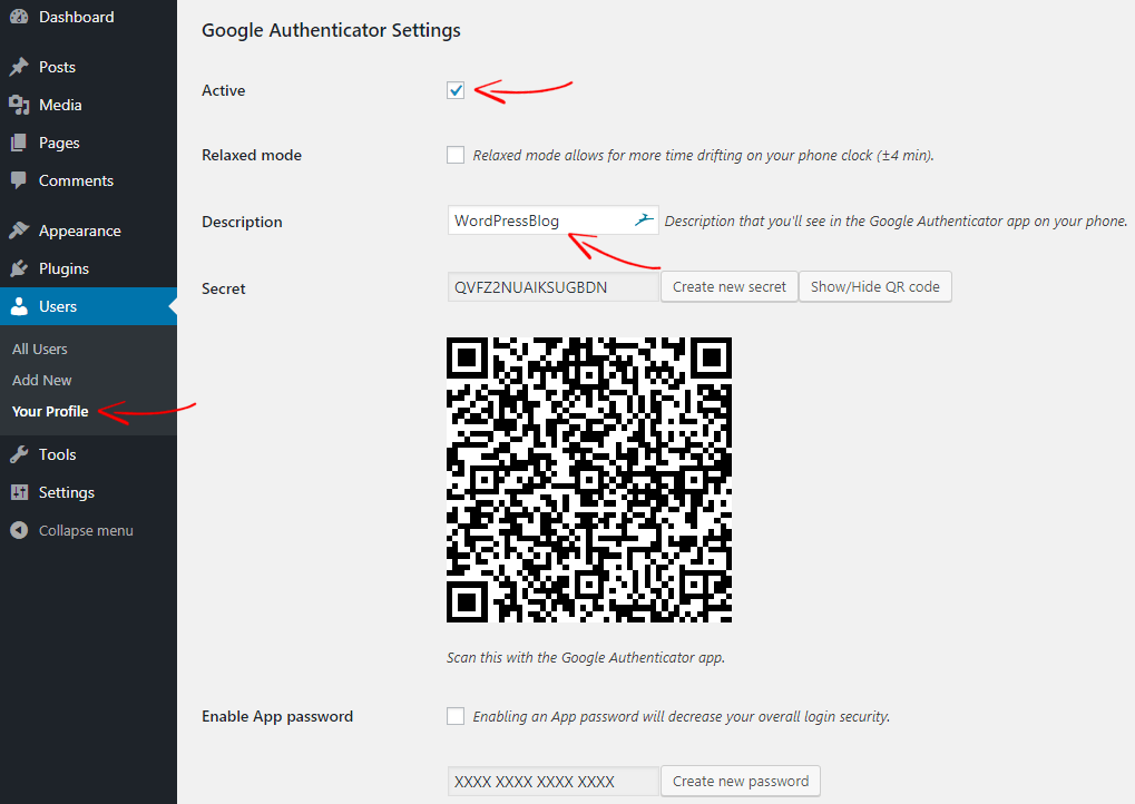 Настройки Google Authenticator